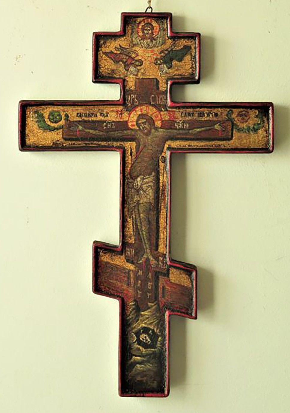 Croce ortodossa copia dipinta a mano